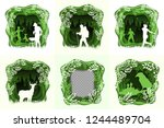 set of forest wilderness... | Shutterstock .eps vector #1244489704