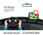 car interior with hands on... | Shutterstock .eps vector #1244492284