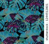 tropical leaves. seamless... | Shutterstock .eps vector #1244512801