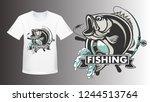 fishing bass shirt mockup logo. ... | Shutterstock .eps vector #1244513764