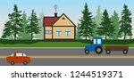 roadside cafe near the forest ...   Shutterstock .eps vector #1244519371