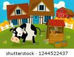 cartoon rural scene with farm... | Shutterstock . vector #1244522437