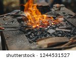 forge  brazier with very hot... | Shutterstock . vector #1244531527