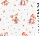 christmas seamless patternd... | Shutterstock . vector #1244542144