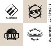 drum  harmonica  guitar and... | Shutterstock .eps vector #1244546341