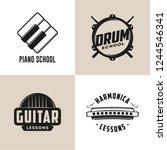 drum  harmonica  guitar and... | Shutterstock .eps vector #1244546341