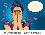 surprised pop art woman ... | Shutterstock .eps vector #1244559667