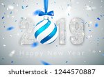 happy new year 2019  silver...   Shutterstock .eps vector #1244570887