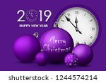 xmas and new year 2019 concept. ... | Shutterstock .eps vector #1244574214