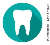 tooth icon with long shadow.... | Shutterstock .eps vector #1244574694