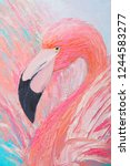 Pink Flamingo Oil Painting.