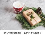 cup with cappuccino christmas... | Shutterstock . vector #1244593057