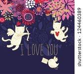 cartoon cupid cats on romantic...   Shutterstock .eps vector #124460389