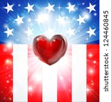 American flag patriotic background with heart, concept for love of country. Great for 4th of July or military themes. - stock photo