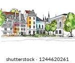 Urban Landscape In Hand Drawn...