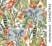 watercolor jungle seamless... | Shutterstock . vector #1244637814