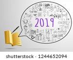 year 2019 goals inside speech... | Shutterstock .eps vector #1244652094