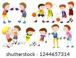 set of boys doing activites... | Shutterstock .eps vector #1244657314