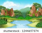 river enviroment landscape... | Shutterstock .eps vector #1244657374