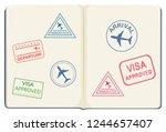 inside of a passport...   Shutterstock .eps vector #1244657407