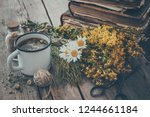 enameled mug of healthy tea ... | Shutterstock . vector #1244661184