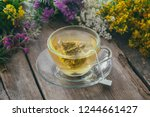 glass tea cup with tea bag of... | Shutterstock . vector #1244661427