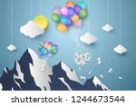 dollar hanging colorful balloon ... | Shutterstock .eps vector #1244673544