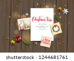 holiday card with festive card... | Shutterstock .eps vector #1244681761
