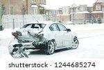 car accident in winter. danger... | Shutterstock . vector #1244685274