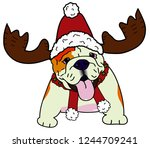 christmas bulldog.dog christmas ... | Shutterstock .eps vector #1244709241