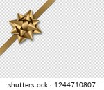 golden bow with ribbon isolated ... | Shutterstock .eps vector #1244710807
