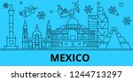 mexico city winter holidays... | Shutterstock .eps vector #1244713297