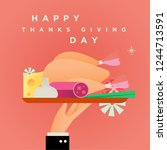 happy thanks giving day ... | Shutterstock .eps vector #1244713591