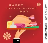 happy thanks giving day ... | Shutterstock .eps vector #1244713594