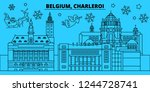 Belgium, Charleroi winter holidays skyline. Merry Christmas, Happy New Year decorated banner with Santa Claus.Belgium, Charleroi linear christmas city vector flat illustration