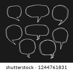 bubbles speech doodle set of... | Shutterstock .eps vector #1244761831