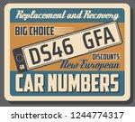 car numbers vector retro... | Shutterstock .eps vector #1244774317