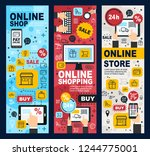 online shopping linear vector... | Shutterstock .eps vector #1244775001