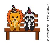 cute lion and panda on bench... | Shutterstock .eps vector #1244788624