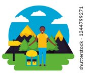 boy and backpack signal... | Shutterstock .eps vector #1244799271