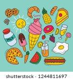 set of various food in doodle... | Shutterstock .eps vector #1244811697