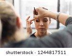 makeup artist applying... | Shutterstock . vector #1244817511