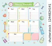 fitness timetable. weekly... | Shutterstock .eps vector #1244824141