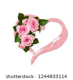 Pink Rose Flower And Buds In A...