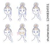 women's skin trouble  set | Shutterstock .eps vector #1244834551