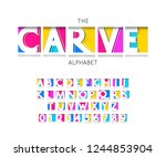 carve font and alphabet vector... | Shutterstock .eps vector #1244853904