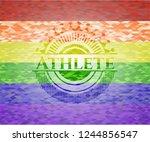 athlete on mosaic background... | Shutterstock .eps vector #1244856547