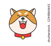 shiba inu emoticon  filled... | Shutterstock .eps vector #1244864641