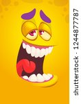 cartoon funny monster face.... | Shutterstock .eps vector #1244877787