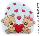 cute teddy bears with heart on... | Shutterstock .eps vector #1244885677
